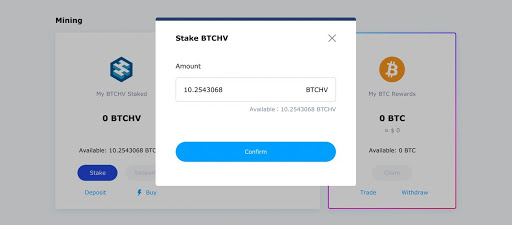 Stake BTCHV for Bitcoin Hashrate Mining